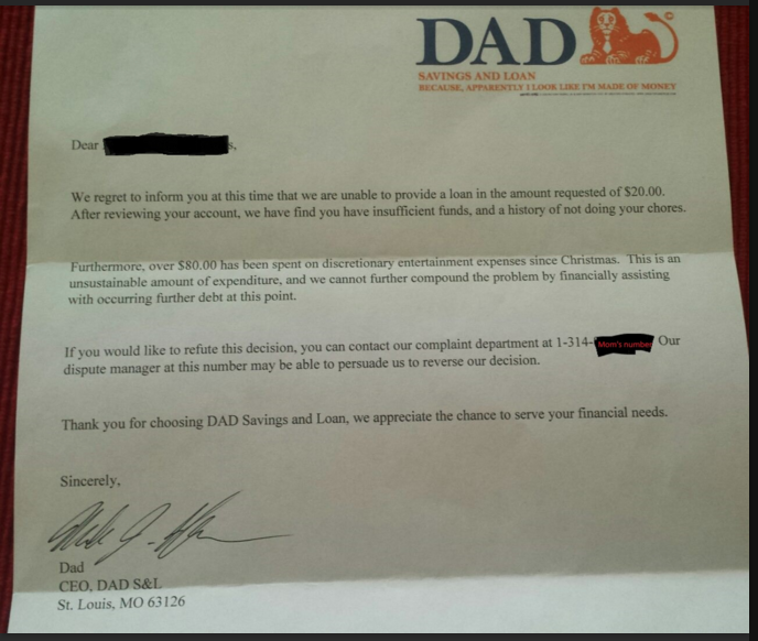 Vehicle Service Department Letter >> Dad S Hilarious Letter To Child Who Asks For Money