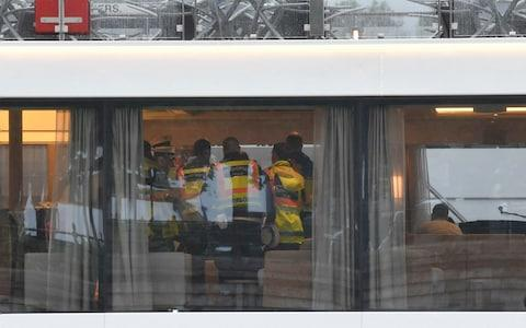 <span>Policemen investigate onboard the Viking hotel ship on the River Danube the morning after the deadly collision</span> <span>Credit: &nbsp;Zoltan Mathe </span>