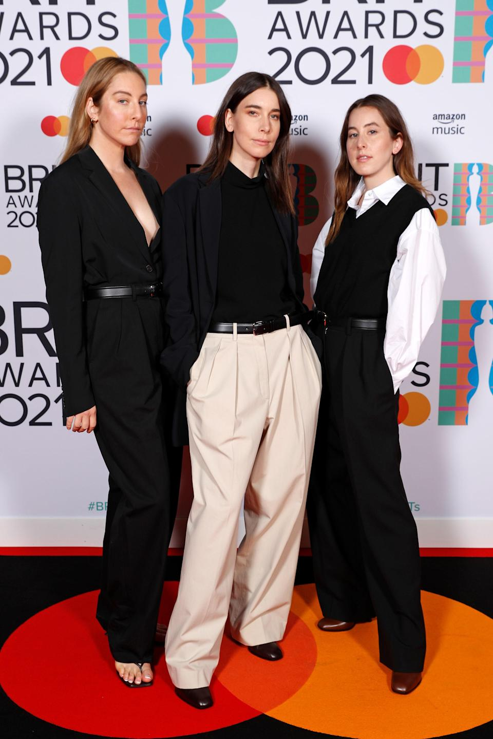 <p>WHO: Haim</p> <p>WHAT: The Row</p> <p>WHERE: The 2021 Brit Awards</p> <p>WHEN: May 11</p>