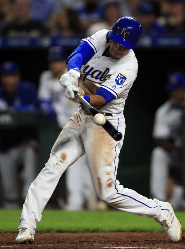 Kansas City Royals' Nicky Lopez hits an RBI-double off New York Mets starting pitcher Noah Syndergaard during the fifth inning of a baseball game at Kauffman Stadium in Kansas City, Mo., Friday, Aug. 16, 2019. (AP Photo/Orlin Wagner)