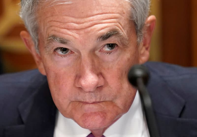 FILE PHOTO: Federal Reserve Chair Powell testifies on Capitol Hill in Washington