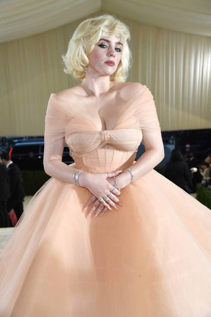 Billie at the 2021 MET Gala wearing a Marilyn Monroe-inspired ball gown