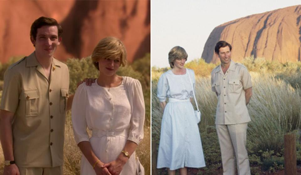 'The Crown' recreated Prince Charles and Princess Diana's visit to Uluru and the rest of Australia and pushed the narrative that some members of the royal family were jealous of Diana's success on the 1983 tour. (Photo: Netflix/Getty )