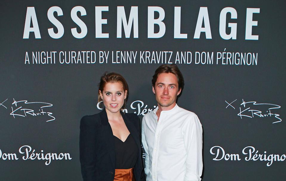 LONDON, ENGLAND -  JULY 10:   Princess Beatrice of York and Edoardo Mapelli Mozzi attend the Lenny Kravitz & Dom Perignon 'Assemblage' exhibition, the launch Of Lenny Kravitz' UK Photography Exhibition, on July 10, 2019 in London, England. (Photo by David M. Benett/Dave Benett/Getty Images for Dom Perignon)