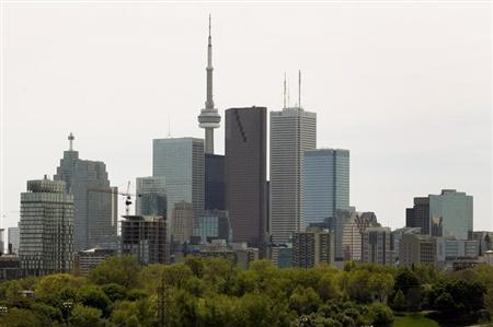 The Toronto Skyline with a condominium building under construction is shown in downtown Toronto