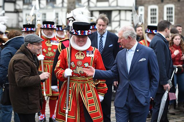 Charles also greeted some members of the public touring the attraction. (Getty Images)