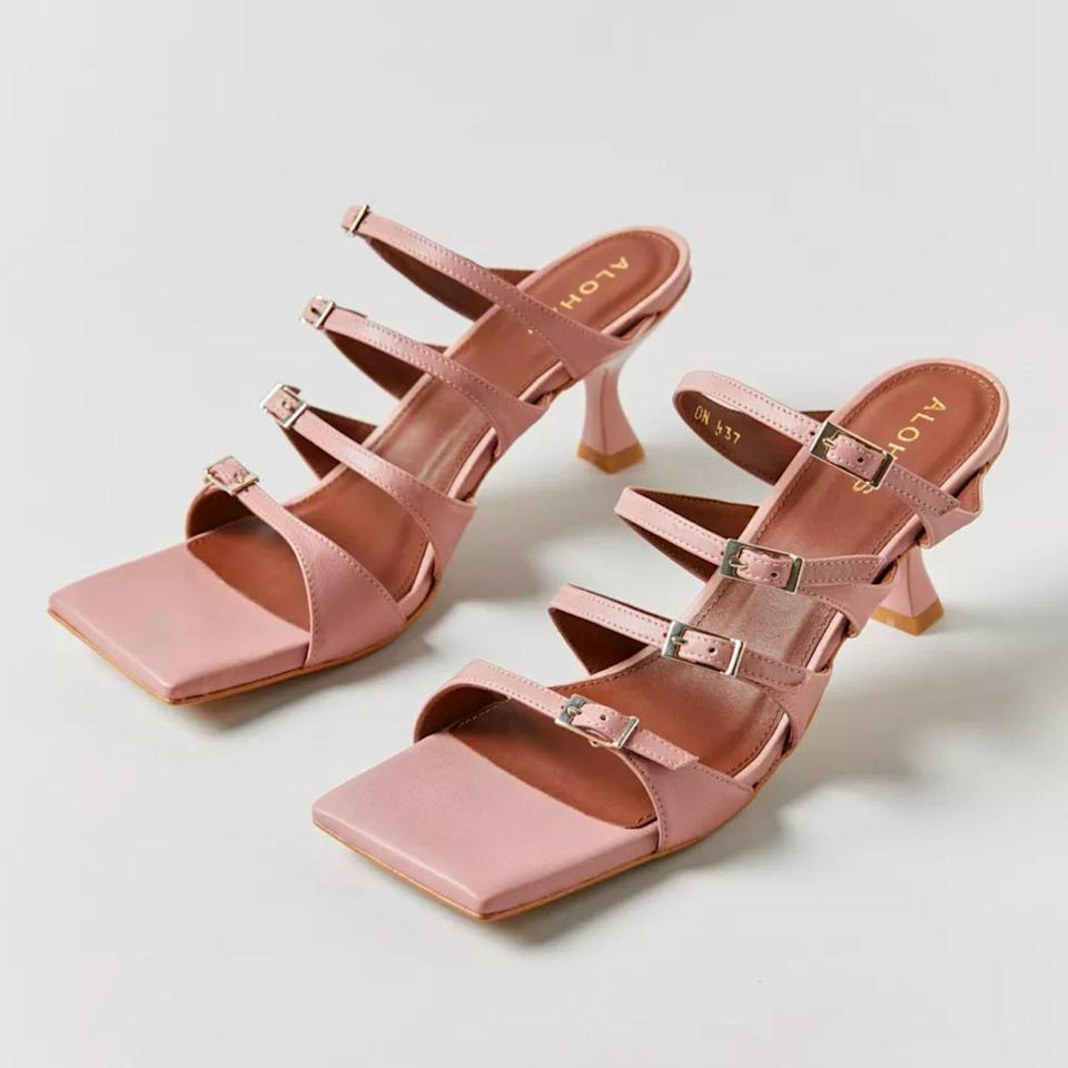 """Let's give it up for the return of kitten heels, just in time for wedding season! The square-toe style gives these a cool '90s vibe, and the buckles keep them from being too precious. $170, Urban Outfitters. <a href=""""https://www.urbanoutfitters.com/shop/alohas-prickly-himalayan-kitten-heel?"""" rel=""""nofollow noopener"""" target=""""_blank"""" data-ylk=""""slk:Get it now!"""" class=""""link rapid-noclick-resp"""">Get it now!</a>"""