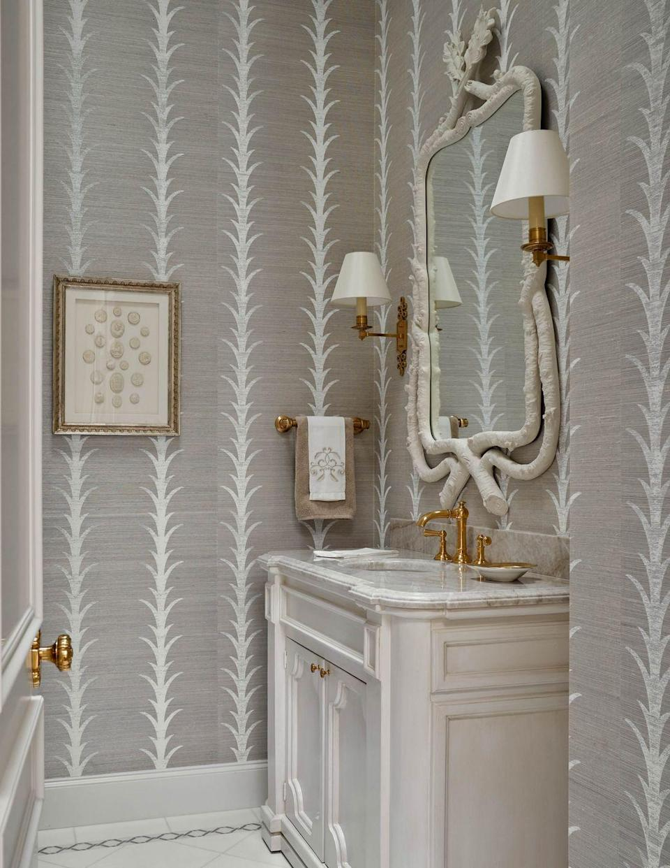 <p><em>There are also a lot of patterned grasscloths out there, which I love in a powder room. It makes for a cozy and interesting little jewel box. </em></p><p><br>Josh Pickering</p>