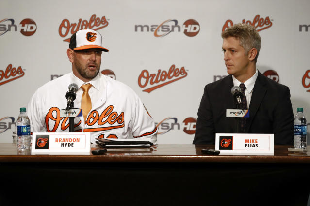 New Baltimore Orioles manager Brandon Hyde, left, speaks alongside executive vice president and general manager Mike Elias at an introductory news conference, Monday, Dec. 17, 2018, in Baltimore. Hyde is the 20th manager in the team's history. (AP Photo/Patrick Semansky)
