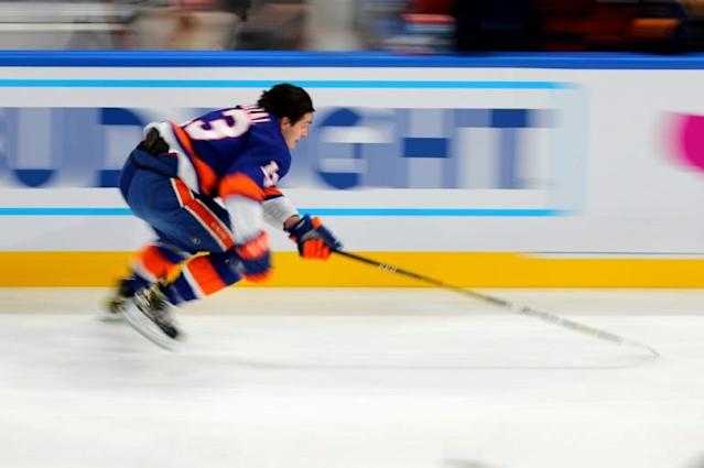 New York Islanders forward Mathew Barzal competes in the fastest skater event during the NHL skills competition at Enterprise Center arena in St. Louis (AFP Photo/Dilip Vishwanat)
