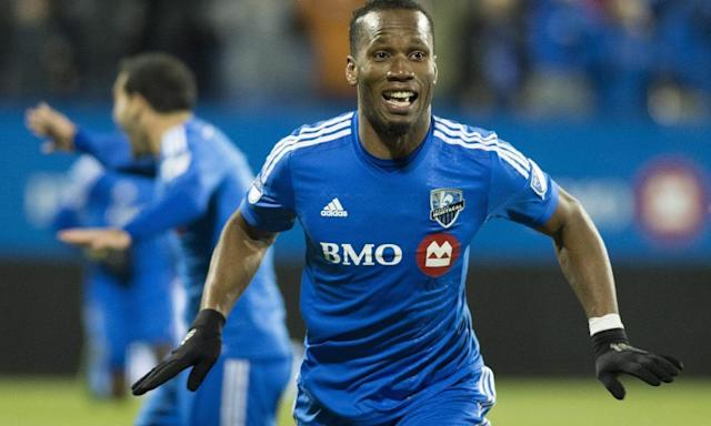 "<span class=""element-image__caption"">Didier Drogba celebrates after scoring for Montreal Impact against Toronto FC during the MLS play-off in Montreal in October 2015.</span> <span class=""element-image__credit"">Photograph: Graham Hughes/AP</span>"