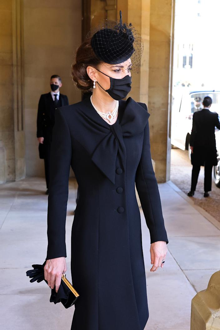 WINDSOR, ENGLAND - APRIL 17: Catherine, Duchess of Cambridge  during the funeral of Prince Philip, Duke of Edinburgh at Windsor Castle on April 17, 2021 in Windsor, England. Prince Philip of Greece and Denmark was born 10 June 1921, in Greece. He served in the British Royal Navy and fought in WWII. He married the then Princess Elizabeth on 20 November 1947 and was created Duke of Edinburgh, Earl of Merioneth, and Baron Greenwich by King VI. He served as Prince Consort to Queen Elizabeth II until his death on April 9 2021, months short of his 100th birthday. His funeral takes place today at Windsor Castle with only 30 guests invited due to Coronavirus pandemic restrictions. (Photo by Chris Jackson/WPA Pool/Getty Images)