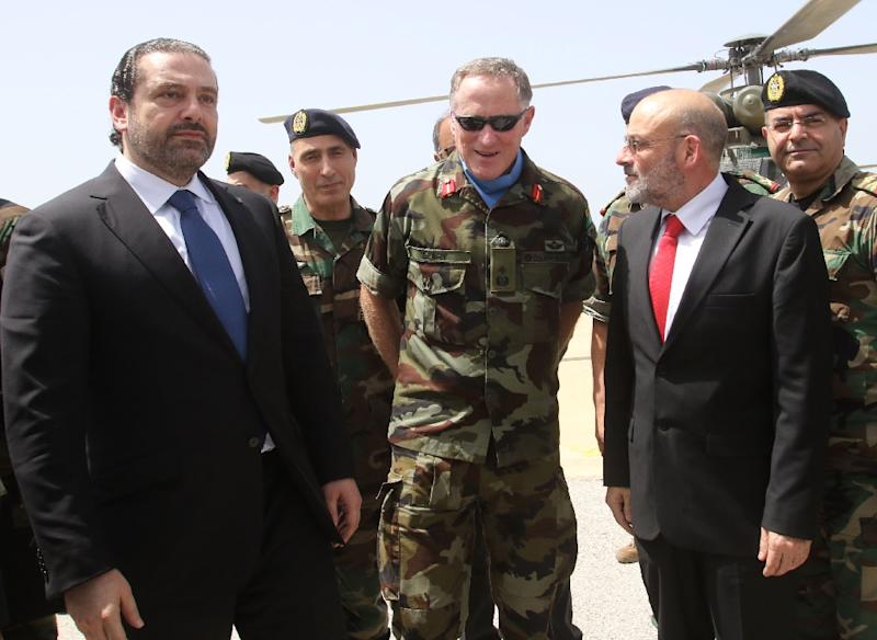 Major General Michael Beary (C) is the Force Commander of the United Nations Interim Force in Lebanon (UNIFIL), which is deployed to keep the peace on Lebanon's southern border with Israel (AFP Photo/Mahmoud ZAYYAT)