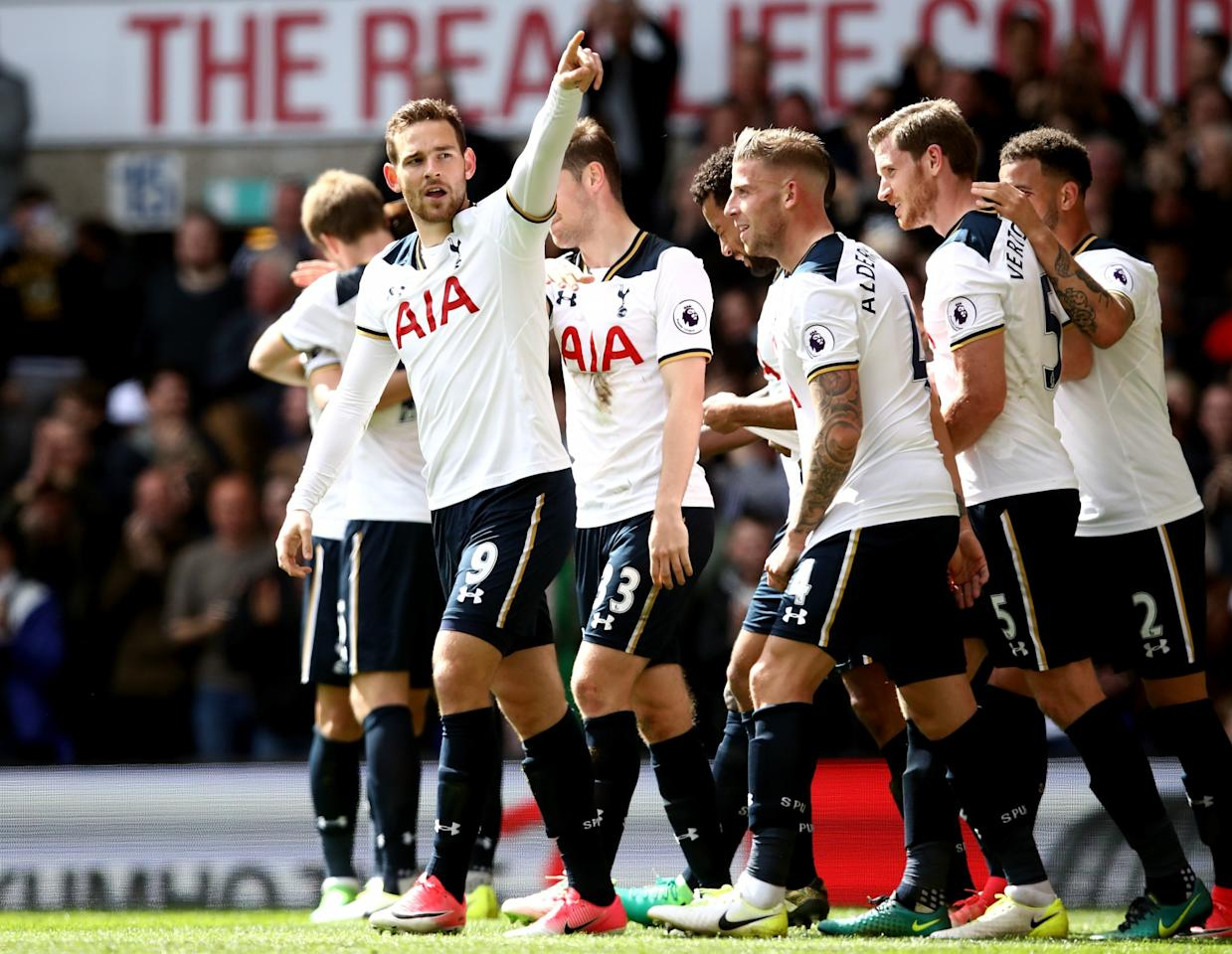 <p>Tottenham celebrate their fourth goal</p>
