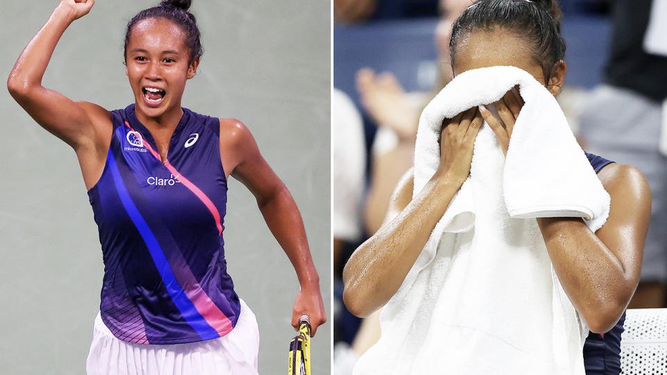Leylah Fernandez, pictured here after beating Angelique Kerber to reach the quarter-finals at the US Open.