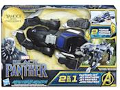 """<p>""""Imagine Black Panther preparing for an attack with this 2-IN-1 Panther Jet Vehicle, inspired by the movie. Featuring a simple conversion mechanism, kids can switch from a panther-like ground attack vehicle to a royal jet, offering two forms of play. Includes a cockpit that is compatible with 6-inch scale figures (not included)."""" $29.99 (Photo: Hasbro) </p>"""