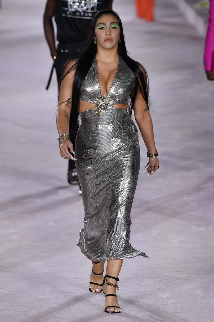 Lourdes Leon walks the runway for Versace Spring/Summer 2022 at Milan Fashion Week on September 24, 2021. (Getty Images)
