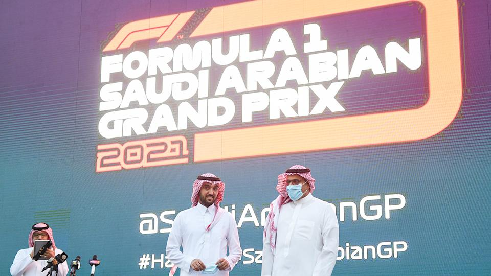 Saudi Arabian politicians and business figures announce the hosting of an F1 Grand Prix.