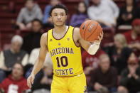 Arizona State guard Jaelen House brings the ball up during the first half of the team's NCAA college basketball game against Stanford in Stanford, Calif., Thursday, Feb. 13, 2020. (AP Photo/Jeff Chiu)