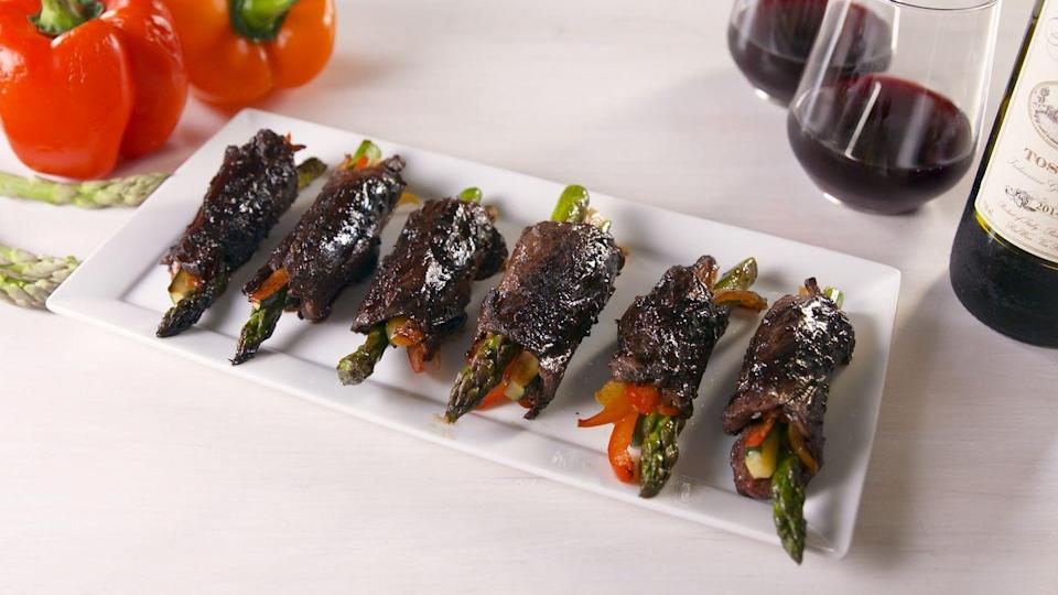 """<p>Securing the roll-ups with toothpicks makes them MUCH easier to cook. Just don't forget to remove them when it's time for serving!</p><p>Get the recipe from <a href=""""https://www.delish.com/cooking/recipe-ideas/a20530047/balsamic-steak-roll-ups-recipe/"""" rel=""""nofollow noopener"""" target=""""_blank"""" data-ylk=""""slk:Delish"""" class=""""link rapid-noclick-resp"""">Delish</a>.</p>"""