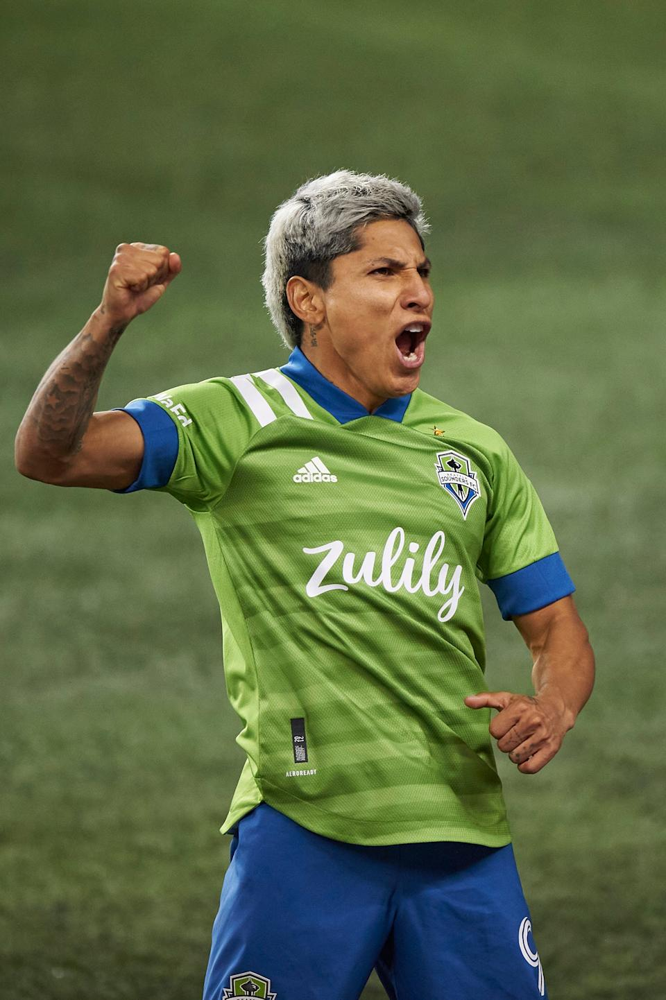 Raul Ruidiaz celebrates his game-tying goal against Minnesota United in the Western Conference final.
