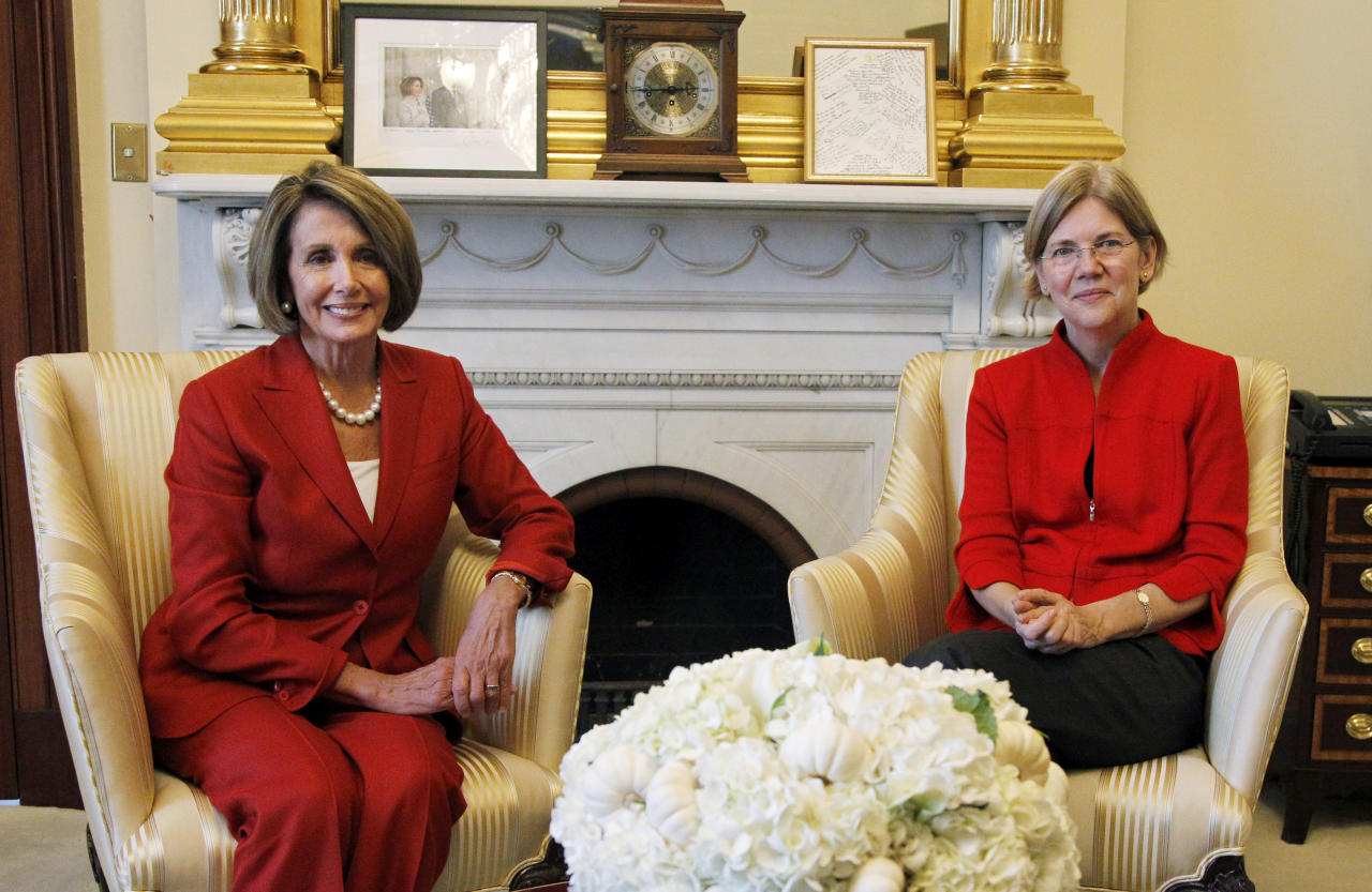 House Sspeaker Nancy Pelosi of Calif., left, welcomes Elizabeth Warren, assistant to the president, special advisor to the secretary of the treasury on the Consumer Financial Protection Bureau, Wednesday, Sept. 29, 2010, in her office on Capitol Hill in Washington.