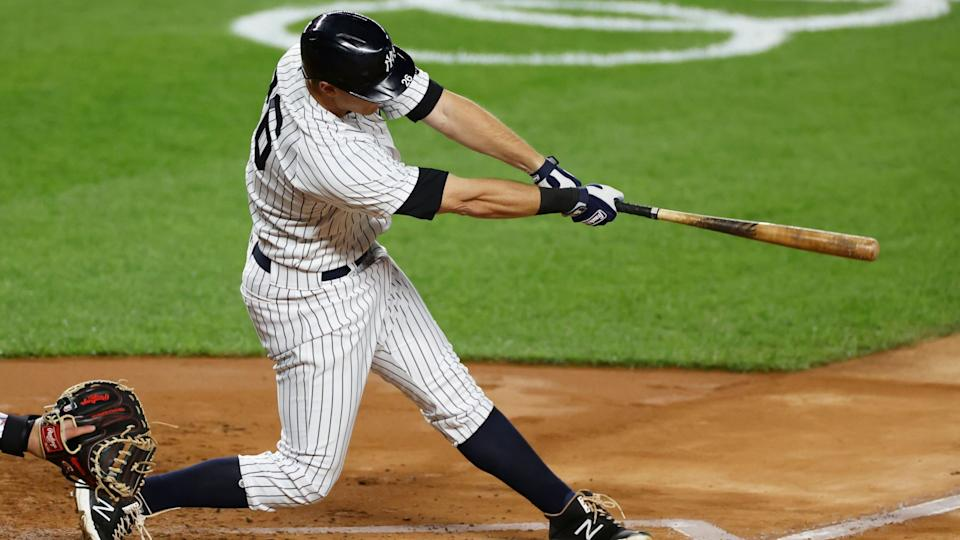 Mandatory Credit: Photo by Adam Hunger/AP/Shutterstock (10778079g)New York Yankees' DJ LeMahieu hits an RBI single during the second inning of a baseball game against the Toronto Blue Jays, in New YorkBlue Jays Yankees Baseball, New York, United States - 15 Sep 2020.