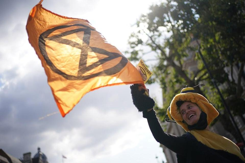 Demonstrators during a protest by members of Extinction Rebellion on Whitehall (PA) (PA Wire)