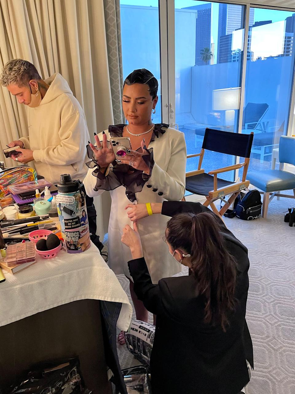 My glam team—Siena, Cesar, Rokael, and Natalie—got me ready before I hit the carpet. Glam is always a time for me to unwind, relax, and hang with my team.