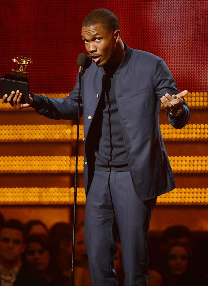 Frank Ocean accepts an award onstage at the 55th Annual Grammy Awards at the Staples Center in Los Angeles, CA on February 10, 2013.