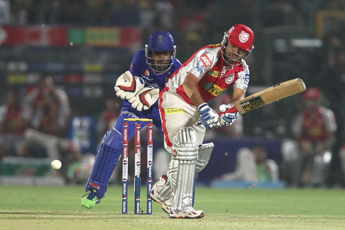 Piyush Chawla of Kings XI Punjab plays a delivery through the leg side during match 18 of the Pepsi Indian Premier League (IPL) 2013 between The Rajasthan Royals and the Kings Xi Punjab held at the Sawai Mansingh Stadium in Jaipur on the 14th April 2013. (BCCI)