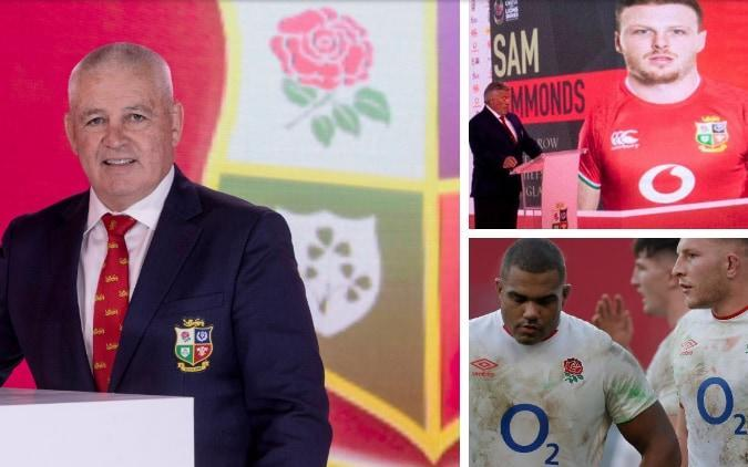 Warren Gatland (left) selected Sam Simmonds (top right) but left out Kyle Sinckler (bottom right) - GETTY IMAGES / NMC POOL
