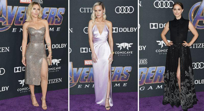 Scarlett Johansson, Brie Larson and Natalie Portman (from left to right) all worked thigh high slit dresses. [Photo: PA]