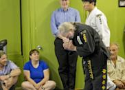 Willie Nelson, the country music icon who turns 81 this week, bows as he receives his fifth-degree black belt in the martial art of Gong Kwon Yu Sul on Monday, April 28, 2014, in Austin, Texas. (AP Photo/Austin American-Statesman, Ralph Barrera) AUSTIN CHRONICLE OUT, COMMUNITY IMPACT OUT, INTERNET AND TV MUST CREDIT PHOTOGRAPHER AND STATESMAN.COM, MAGS OUT