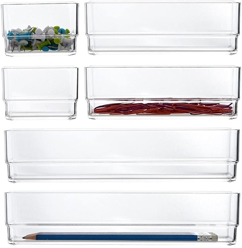<p>If you have drawers, use these <span>Stori Clear Plastic Vanity and Desk Drawer Organizers</span> ($15, originally $20) to keep things in their place. </p>