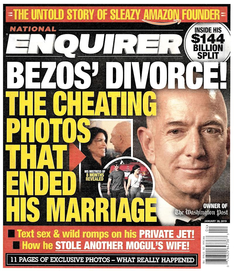 The front page of the Jan. 28, 2019, edition of the National Enquirer featuring a story about Amazon founder and CEO Jeff Bezos' divorce.