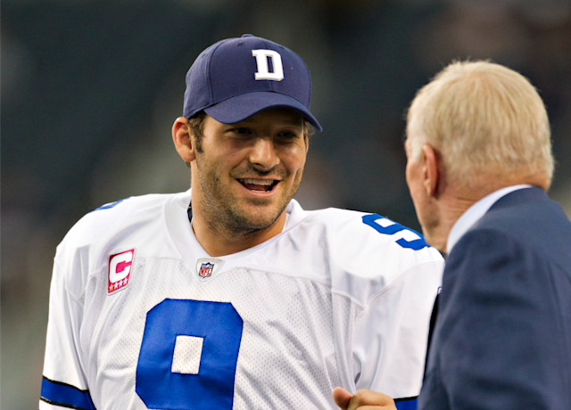 Tony Romo and Jerry Jones. (Getty Images)