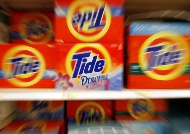 Boxes of Tide detergent, a Procter & Gamble product, sit on a shelf at a store in Alexandria