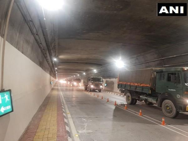 Indian Army convoy passing through Atal Tunnel on Wednesday. (Photo/ANI)