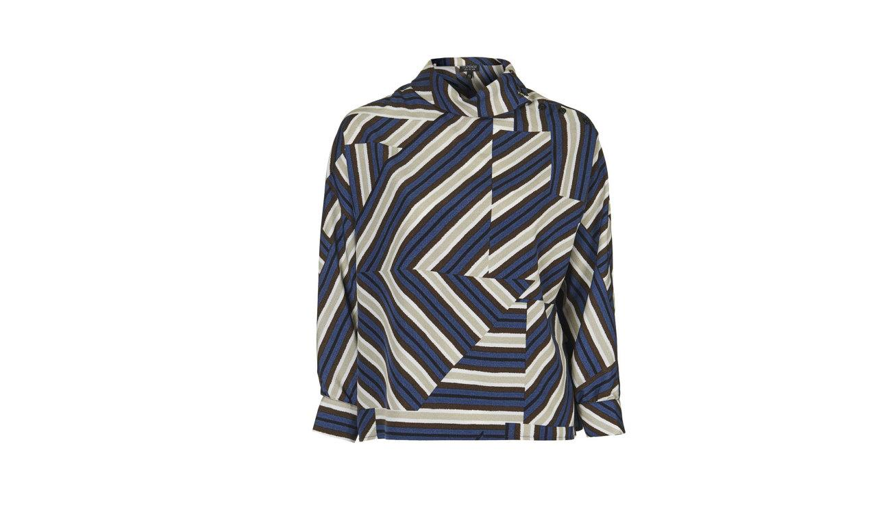 """<p>High-Neck Striped Button Blouse, $75, <a href=""""http://us.topshop.com/en/tsus/product/clothing-70483/tops-70498/highneck-striped-button-blouse-5047820?bi=400&ps=20"""">topshop.com </a><br /><br /></p>"""