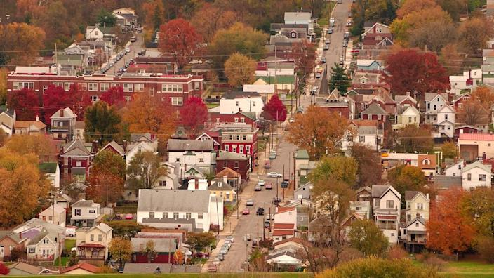 River Town USA - Aerial view of autumn in a small Kentucky river town.