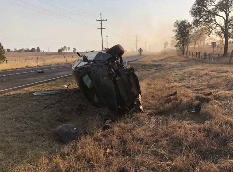 Pictured is Sarah Tate's Hyundai resting on its side in Peak Crossing.