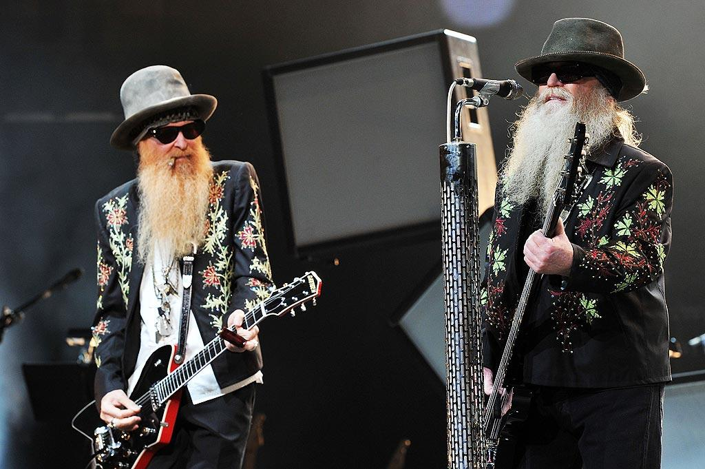 """Even the eccentric ZZ Top -- remember them?! -- pitched in to help, performing """"Sharp Dressed Man"""" and more from under those signature beards. Fred Breedon/Nashville Rising/<a href=""""http://www.gettyimages.com/"""" target=""""new"""">GettyImages.com</a> - June 22, 2010"""