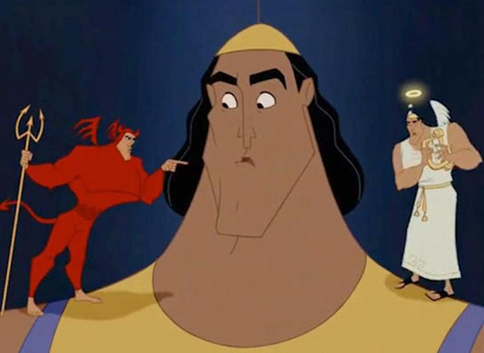 """Kronk from """"The Emperor's New Groove"""" with an angel and a devil on his shoulders"""