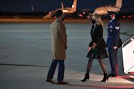 <p>Dr. Biden opted for an edgier look, featuring a leather skirt and patterned tights, to arrive at Andrews Air Force Base in Maryland.</p>