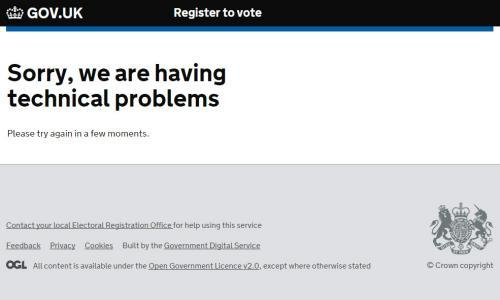 Screengrab taken from the government website to register to vote in the EU referendum which crashed less than hour before the deadline.