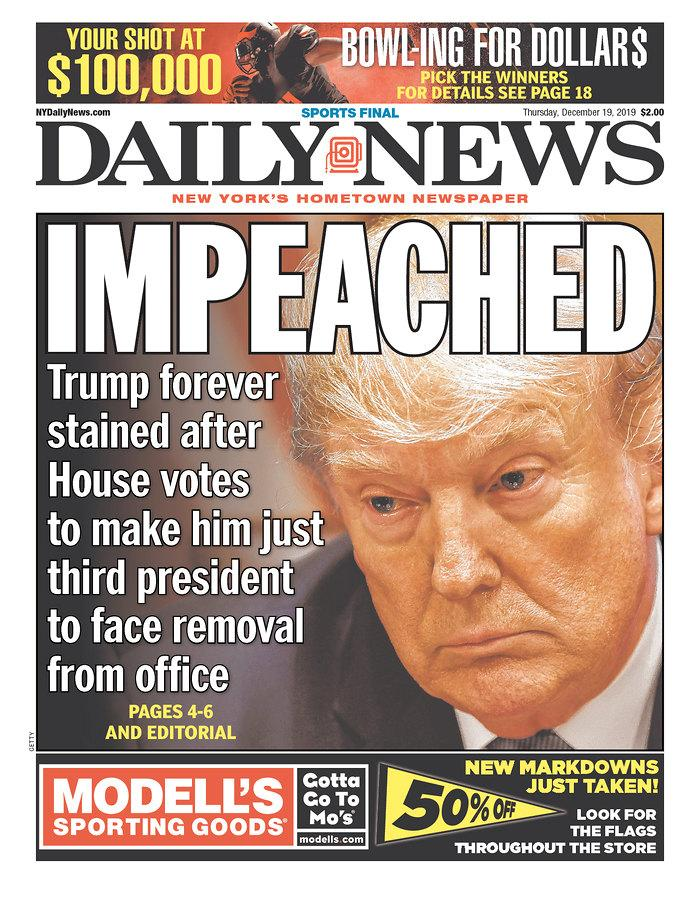 The front page of Thursday's New York Daily News. (Newseum.org)