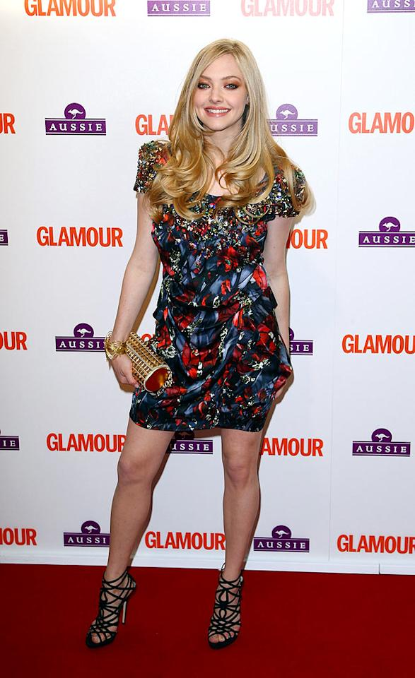 "Mamma Mia! Is it just us, or was Amanda Seyfried looking better than ever at the Glamour Women of the Year Awards in a Peter Pilotto satin sensation and fierce gladiator heels? Gareth Cattermole/<a href=""http://www.gettyimages.com/"" target=""new"">GettyImages.com</a> - June 2, 2009"