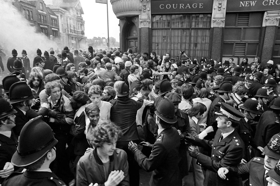 A clash between National Front marchers and anti-fascists in New Cross (BBC/Rogan Productions/Alamy)