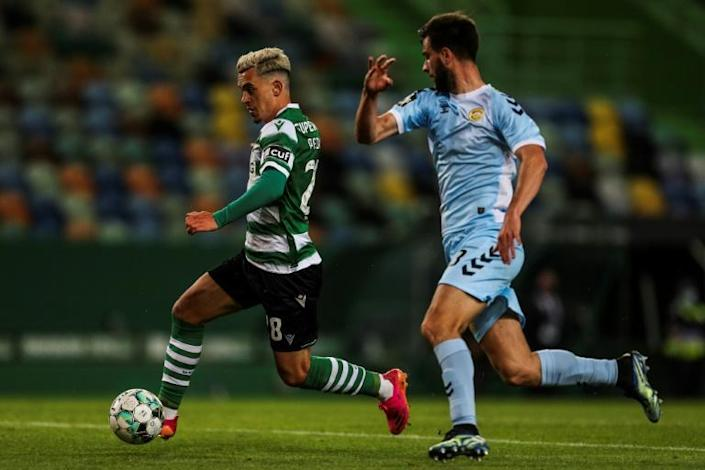 Youth movement: midfielder Pedro Goncalves (L) has scored 18 league goals to propel Sporting towards their first league title in 19 years